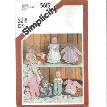 Simplicity 5615 Pattern for 17-18 In. Doll Clothes, Dy Dee Baby, 1982, Dress, Bootees, Hat, Romper, Kimono, Vintage Pattern, Home Sewing