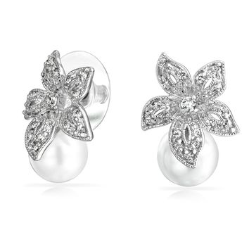 Bridal Pave CZ Flower White Pearl Stud Earrings Silver Plated