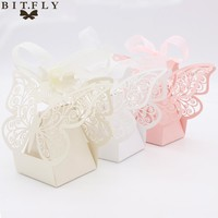 50pcs Candy Box Wedding Gift Bag paper Butterfly Decorations for Wedding baby shower birthday Guests Favors Event Party Supplies