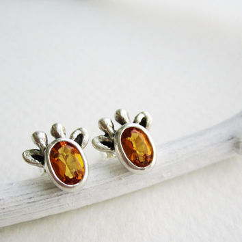 Yellow Giraffe Silver Stud Earrings, Citrine, MADE TO ORDER