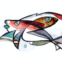 Red, Colorful Fishes . Original watercolor fishes . Painting .  Gray / Black / coffee brown . Desing painting. Mother's day gift, gift card,