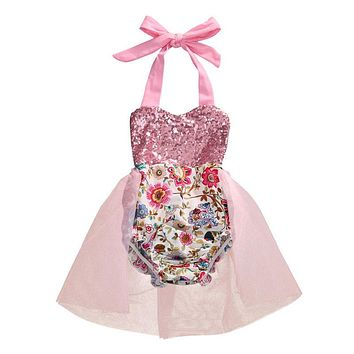 Newborn Baby Girl Floral Romper  New Arrival Summer Jumpsuit Outfit Sunsuit Sequins Clothes