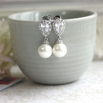Rhodium Plated Cubic Zirconia Ear Post,  White SHELL Pearls Earrings. Bridesmaids Gift,  Bridal Jewelry. Maid of Honor.