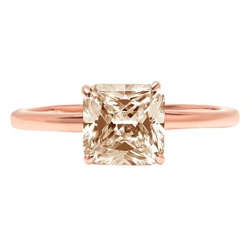 14K Rose Gold 2.5CT Asscher Cut Champagne Russian Lab Diamond Solitaire Engagement Ring