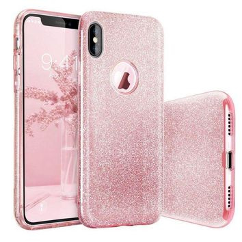 VONE7JZ iPhone X Case, BASSTOP Luxury Bling Crystal Glitter Sparkle Phone Case Detachable 3 Layers Shockproof Hard PC Back Soft TPU Inner Shining Case for Apple iPhone X,iPhone 10 (Pink)