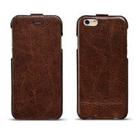 iVAPO iPhone 6 4.7inch Case, Durable Folder Genuine Leather Case, Premium Oil Wax Leather Case, Retro Folio Case For iPhone 6 4.7inch (MM495) (Coffee)