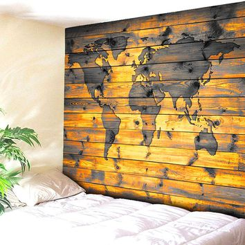 Woody Wall Map Tapestry