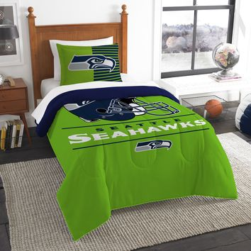 "Seahawks OFFICIAL National Football League, Bedding, ""Draft"" Printed Twin Comforter (64""x 86"") & 1 Sham (24""x 30"") Set  by The Northwest Company"