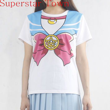 New Sailor Moon Anime Chibimoon Harajuku Kawaii Girl's Fake Print Cosplay T Shirt Woman Tops Peplum Tops Tee Vestidos