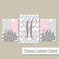 Monogram Wall Art, Pink Gray Nursery Baby Girl Nursery Wall Art, Girl Bedroom Pictures, Girl Nursery Artwork Set of 3 Canvas or Prints