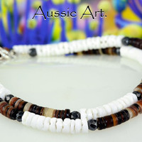 SN-018 Sterling Silver,Hematite & Natural Shell Beads New Choker Men Necklace.