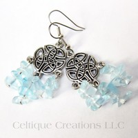Celtic Knot Chandelier Earrings Pewter Blue Chip Glass Dangle Jewelry | celtique_creations - Jewelry on ArtFire