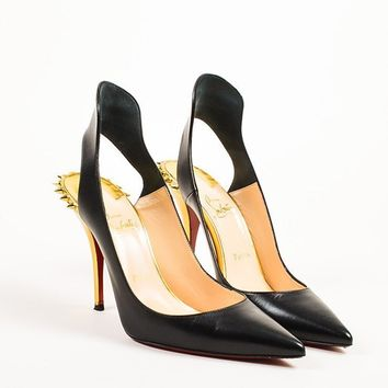 DCCK Christian Louboutin Black and Gold Leather Spiked  Survivita 100  Pumps