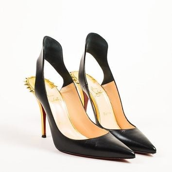 CREYU2C Christian Louboutin Black and Gold Leather Spiked Survivita 100 Pumps