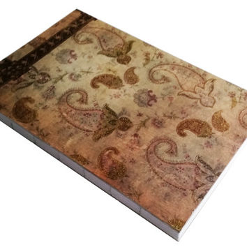 Paisley Shiny Gold Glitter blank Journal with 80 bound pages 5 1/2 X 8 1/2