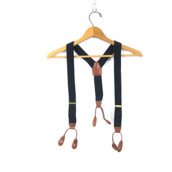 Vintage Blue Suspenders Fabric & Leather Retro Hipster Men's Belt with button clasps Hipster Belt