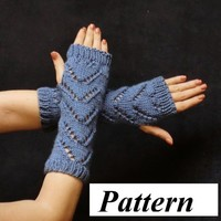 Fingerless Glove Pattern, Knit Lace Chevron pdf ok to sell Fashion