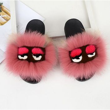 FENDI Fur Women Fashion Slipper Flats Shoes Brick Red