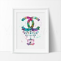 Coco Chanel Bird Cage Monogram Watercolor Art Print