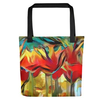 All-over-print Tote bag - Colorful floral pattern, red painted tulips theme