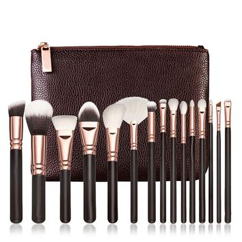 golden brush kit blend brush with leather bag professional
