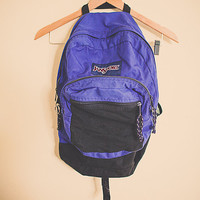 Vintage 90's Jansport Purple with Black Zipper Back Pack  RuckSack Hiking Seattle Style Portland Style Student