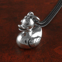 "Rubber Duck Necklace Antique Silver Rubber Duck Pendant on 24"" Gunmetal Chain"