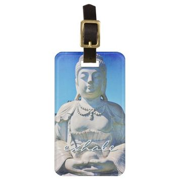 """Exhale"" white Hawaii Buddha photo luggage tag"