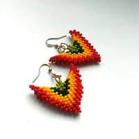 Little Beaded Earrings-Colorful Beaded Jewelry-Seed Bead Earrings-Beadwork Earrings-Gift for Her