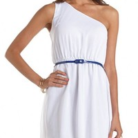 Belted One Shoulder A-Line Dress: Charlotte Russe