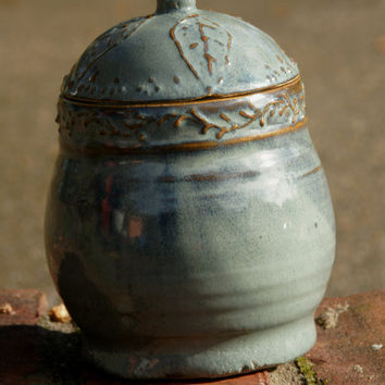 Green Trinket Jar with leaf slip trailing pattern - hand thrown pottery, stoneware