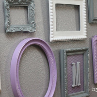 Baby Nursery Decor / Wall Letter / Monogram Frame / Purple and Grey / Customizable Monogram Wall Decor