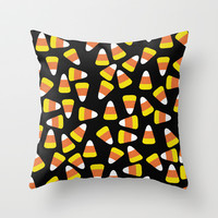 Candy Corn Jumble (black background) Throw Pillow by Lisa Argyropoulos