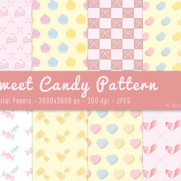 8 Sweet Candy Gift Wrapping Digital Patterns Paper Backgrounds - INSTANT DOWNLOAD - 300 dpi - JPEG - 3600x3600px