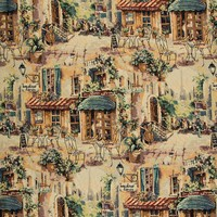 A007 Italian Café Outdoor Seating Background Musician Themed Tapestry Upholstery Fabric By The Yard