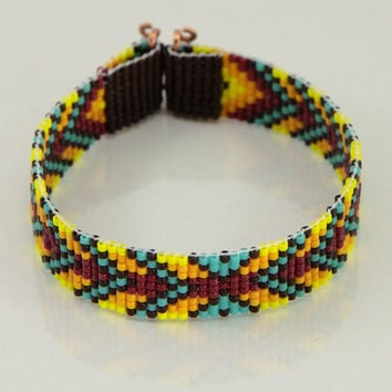 Native American Style Chevron Bead Loom Bracelet Artisanal Jewelry Indian Western Beaded Gypsy Boho Bohemian Turquoise Red Yellow Orange