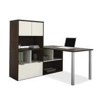 Bestar Contempo L-Shaped Writing Desk with Storage Hutch