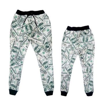 Newest Fashion Joggers Pants 3D Graphic Printed Creative Dollar bill Casual Sweatpants for mens/womens Hip Hop style Trousers
