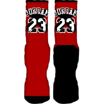 Jordan Retro 1 Homage Custom Sneaker Socks - 23 FOREVER