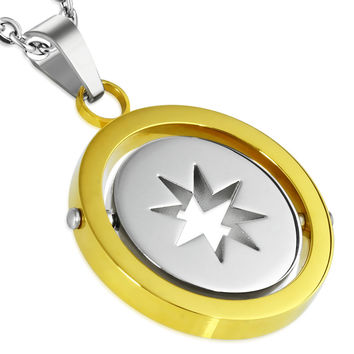Stainless Steel 2-tone Cut out Star circle spinning Pendant