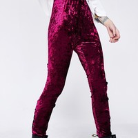 Wine Velvet Crushin' Back Laced Leggings