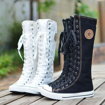 hot sale fashion women Canvas Boots Knee High Shoes lady motorcycle boots,size 35-43 White/Black 5A105