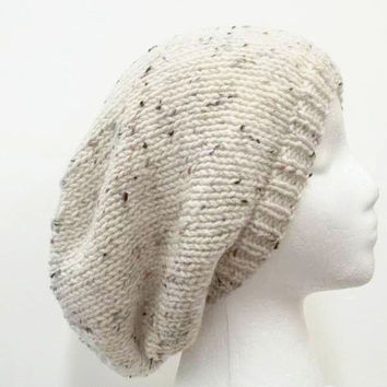 Slouchy beanie with marble flecks for men or women = free shipping  5123