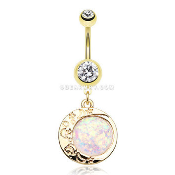 Golden Opal Eclipse Moonshine Belly Button Ring (Clear/White)