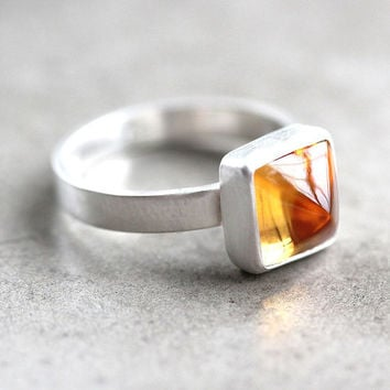 Lemon Yellow Citrine Ring, Citrus Yellow Gemstone Pyramid Brushed Sterling Silver Ring November Birthstone Geometric Jewelry - Size 5.75