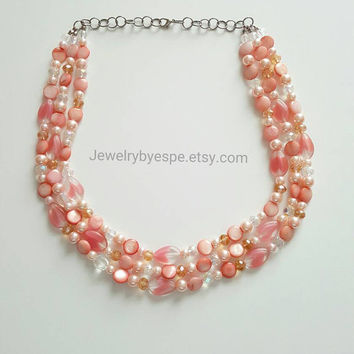 Coral Statement Necklace, Coral Pink Necklace, Crystal Necklace, Gold Bridal Necklace, Chunky Bib Necklace