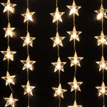 Image 1Mx1.5M 54 LED Star Curtain Lights String Light for Christmas Party Warm White - Walmart.com