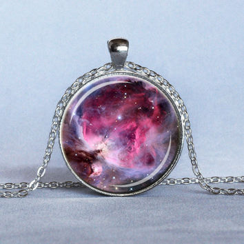 ORION NEBULA Pendant Pink Fuschia Lavender Orion Nebula Necklace Astronomy Pendant Space Jewelry Science Pendant Gifts for Her