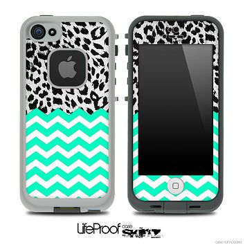 Mixed Leopard and Trendy Green Chevron Pattern Skin for the iPhone 5 or 4/4s LifeProof Case