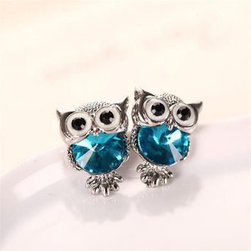 Fashion Cute Crystal Owl Girls Stud Earrings For Women Vintage Gold-Color Animal Statement Earrings Free